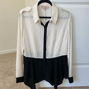 Philosophy White and Black Blouse